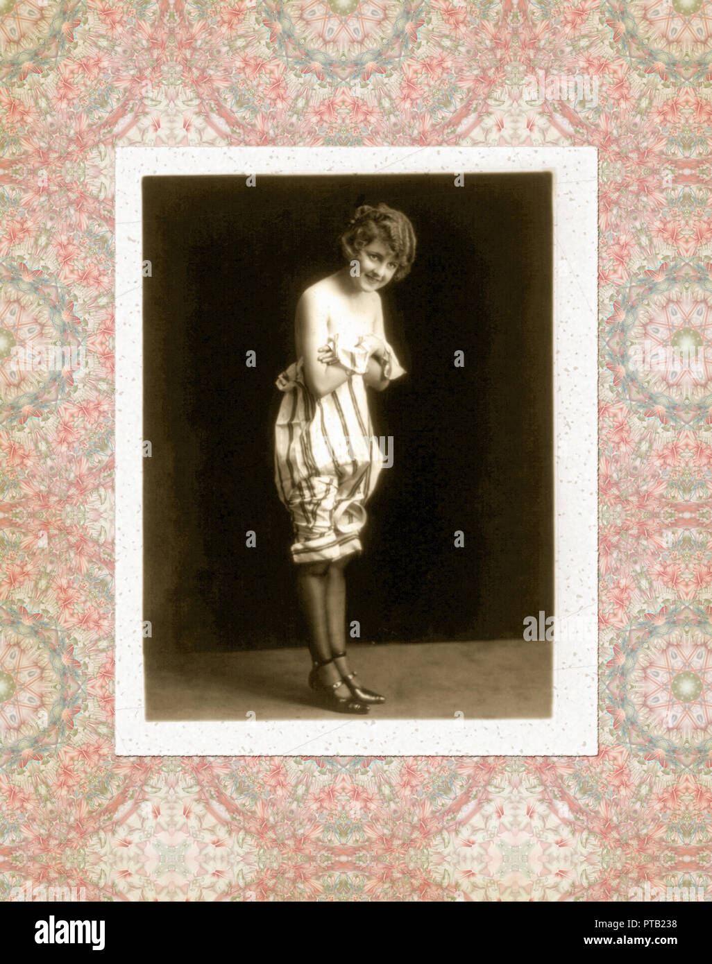 vintage photo of a woman in period dress Stock Photo