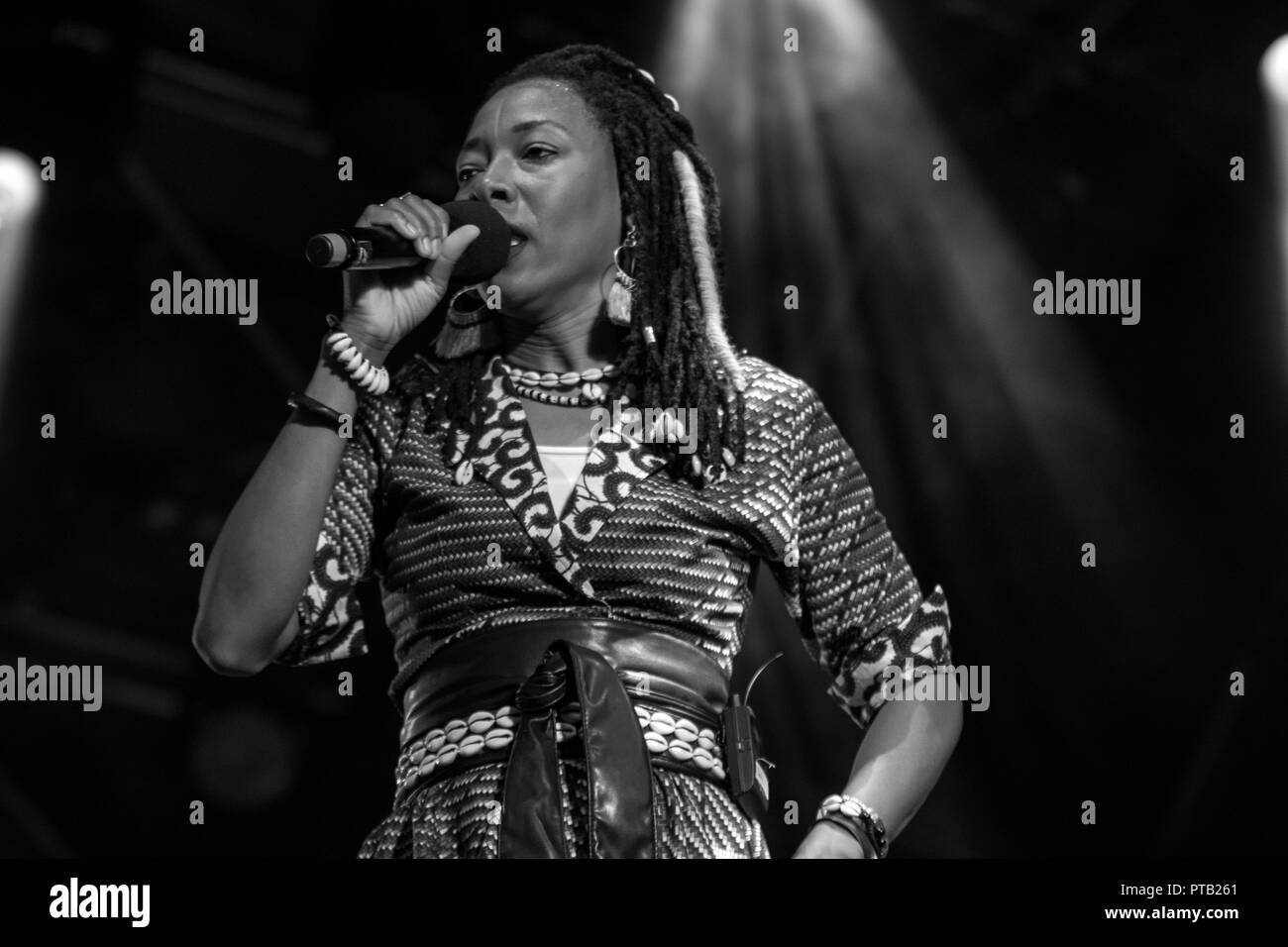 Malian singer and guitarist, Fatoumata Diawara, performing at George Square, Glasgow, Scotland, on 12th August, 2018, during Festival 2018 Stock Photo