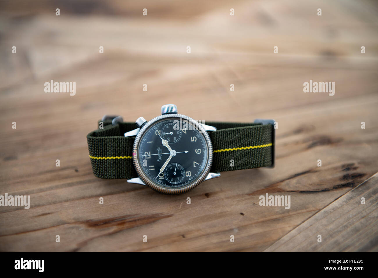 Hanhart calibre 40 single pusher chronograph issued to the Luftwaffe in world war 2 - Stock Image