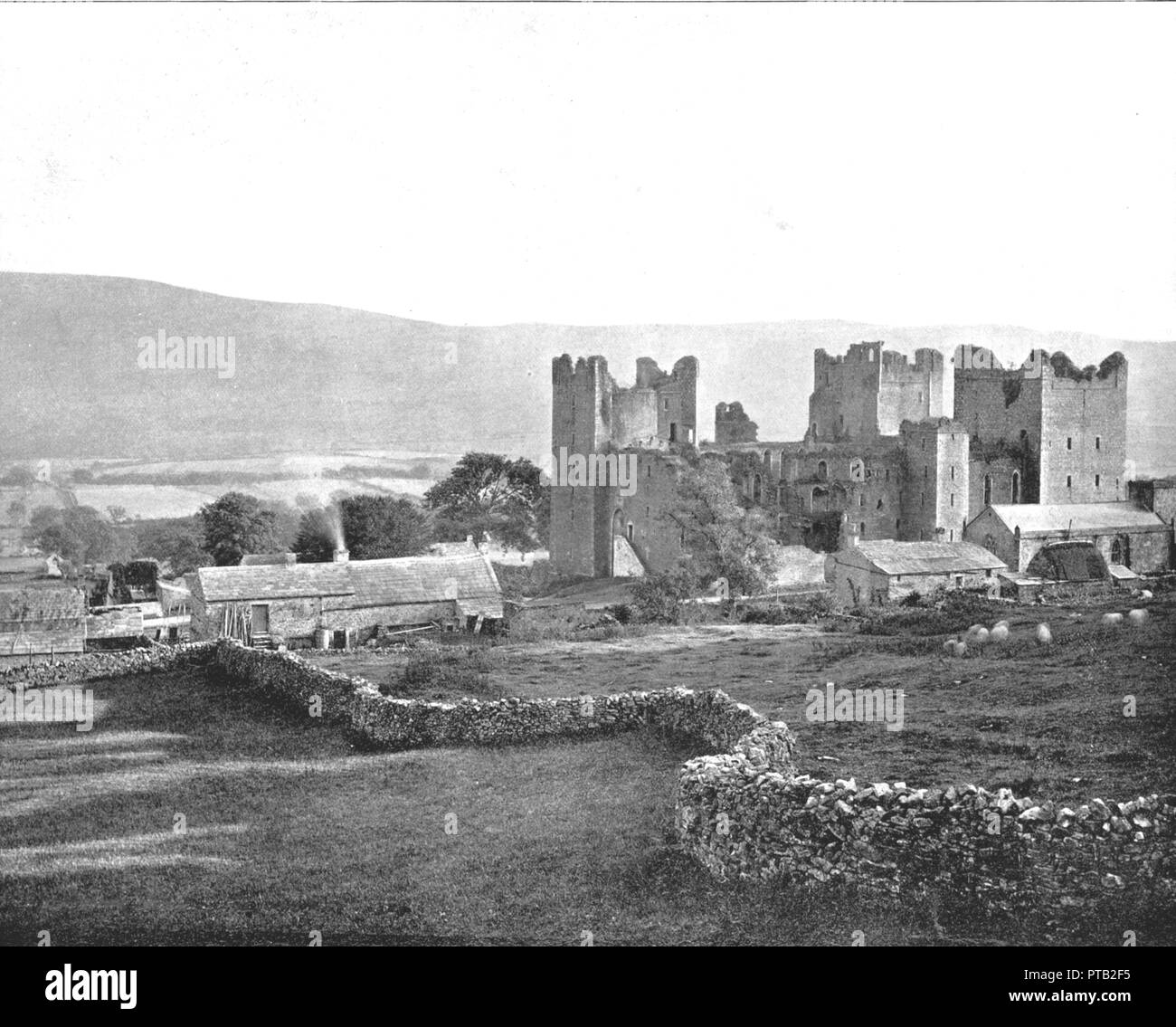 Bolton Castle, Wensleydale, North Yorkshire, 1894. Bolton Castle was built in the late 14th century by Richard le Scrope, a prominent soldier and courtier during the reign of Richard II and Lord Chancellor of England from 1378-1382. Mary, Queen of Scots was held at the castle in 1568-1569. It was partially damaged during the English Civil War. From Beautiful Britain; views of our stately homes. [The Werner Company of Chicago, 1894] - Stock Image