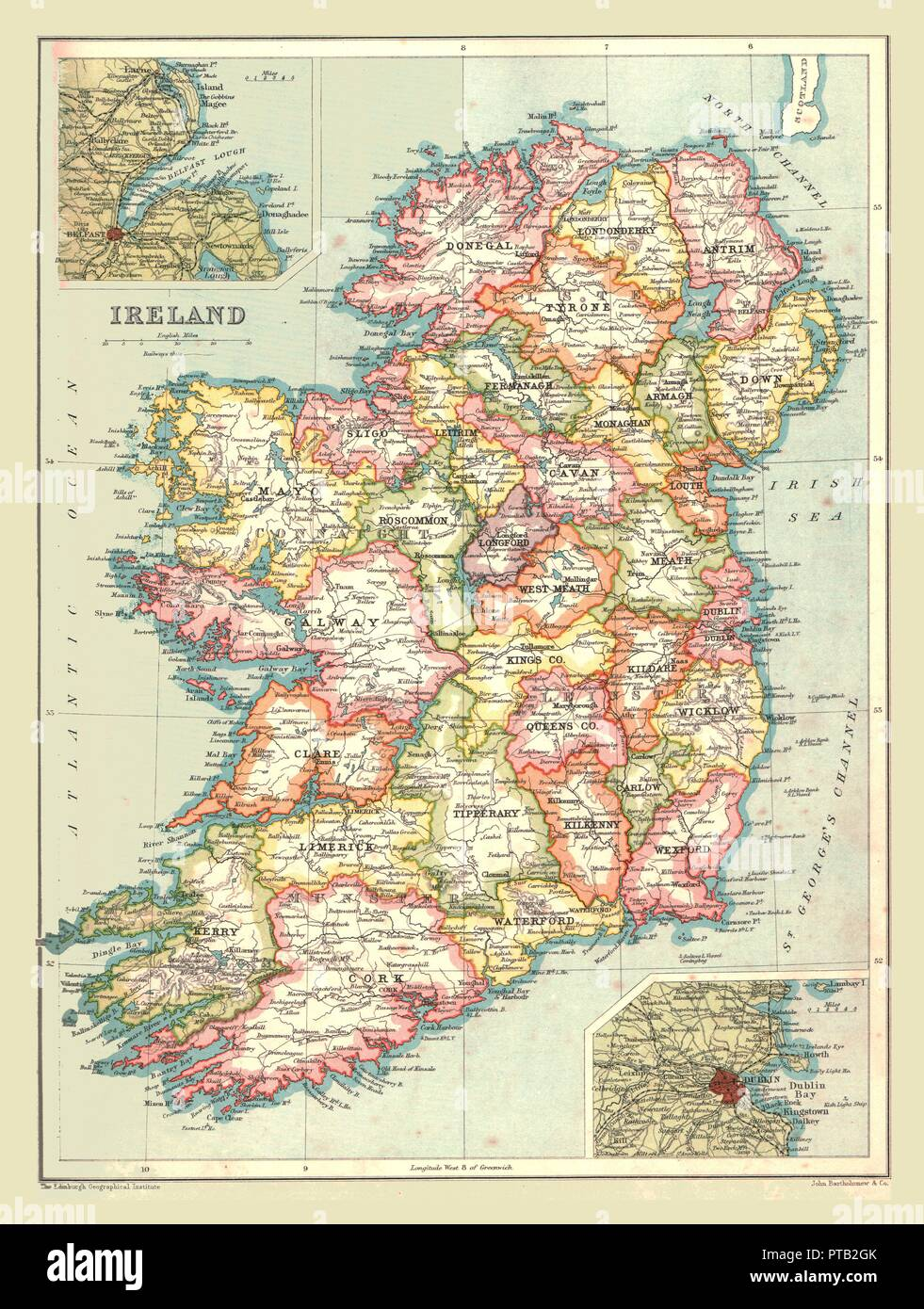 Map Of Ireland Showing Dingle.Map Of Ireland 1902 Creator Unknown Stock Photo 221519667 Alamy