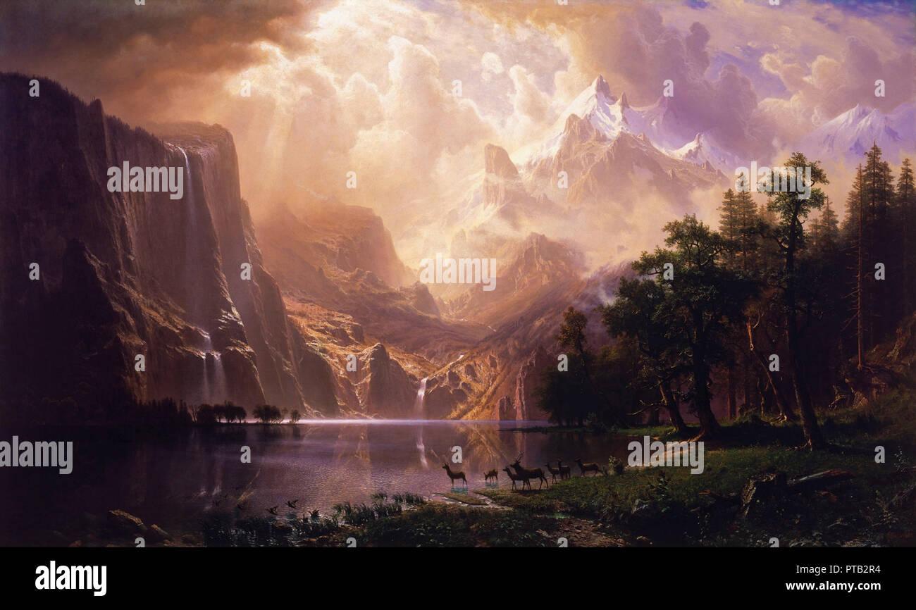 vintage style beautiful landscape painting - Stock Image
