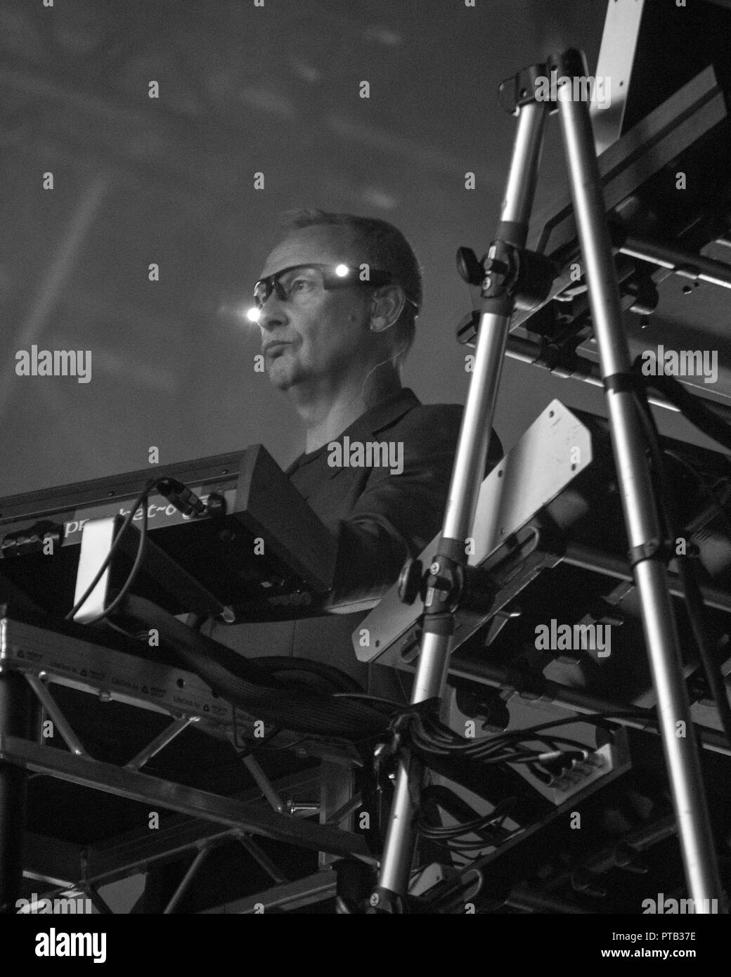 Paul Hartnoll of EDM duo, Orbital, performing at George Square, Glasgow, Scotland, on 10th August, 2018, during Festival 2018 - Stock Image