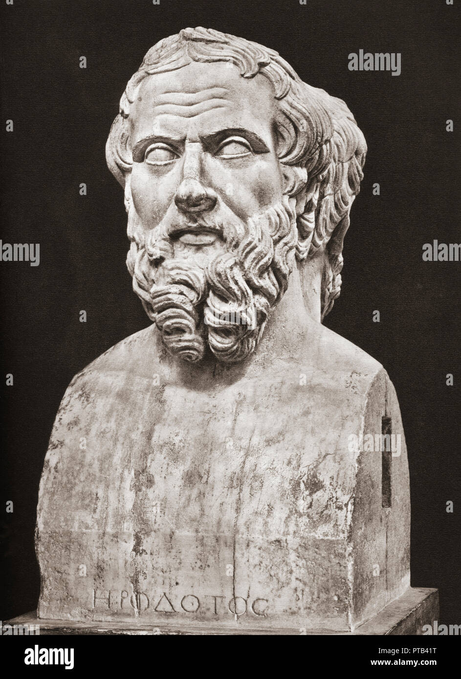 Bust of Herodotus, c. 484 – c. 425 BC. Ancient Greek historian. - Stock Image