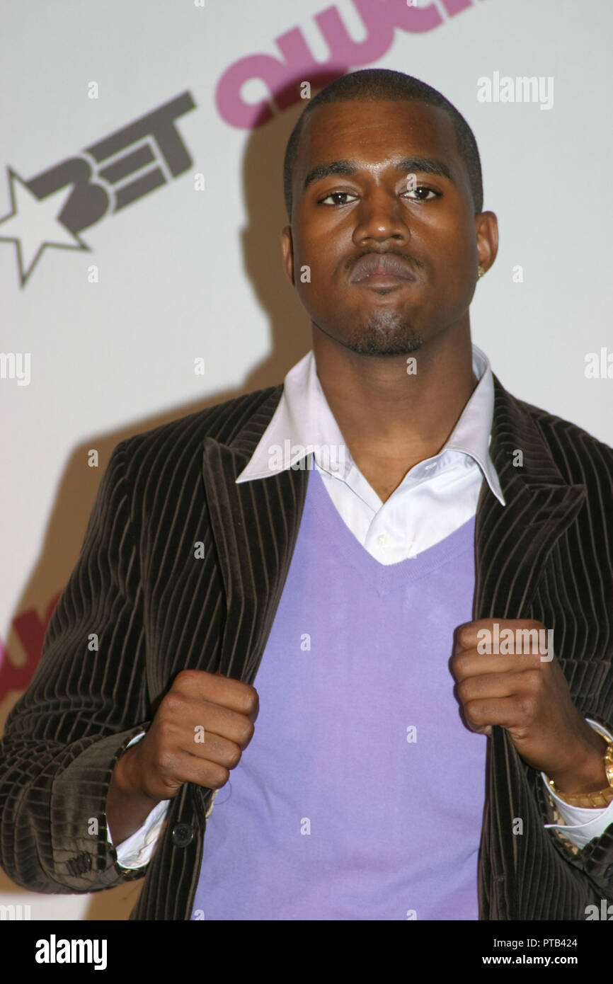 Kanye West  06/29/2004 4th ANNUAL BET Awards Press Room  @ Kodak Theatre, Hollywood Photo by Kazumi Nakamoto/HNW / PictureLux  File Reference # 33680_390HNW - Stock Image