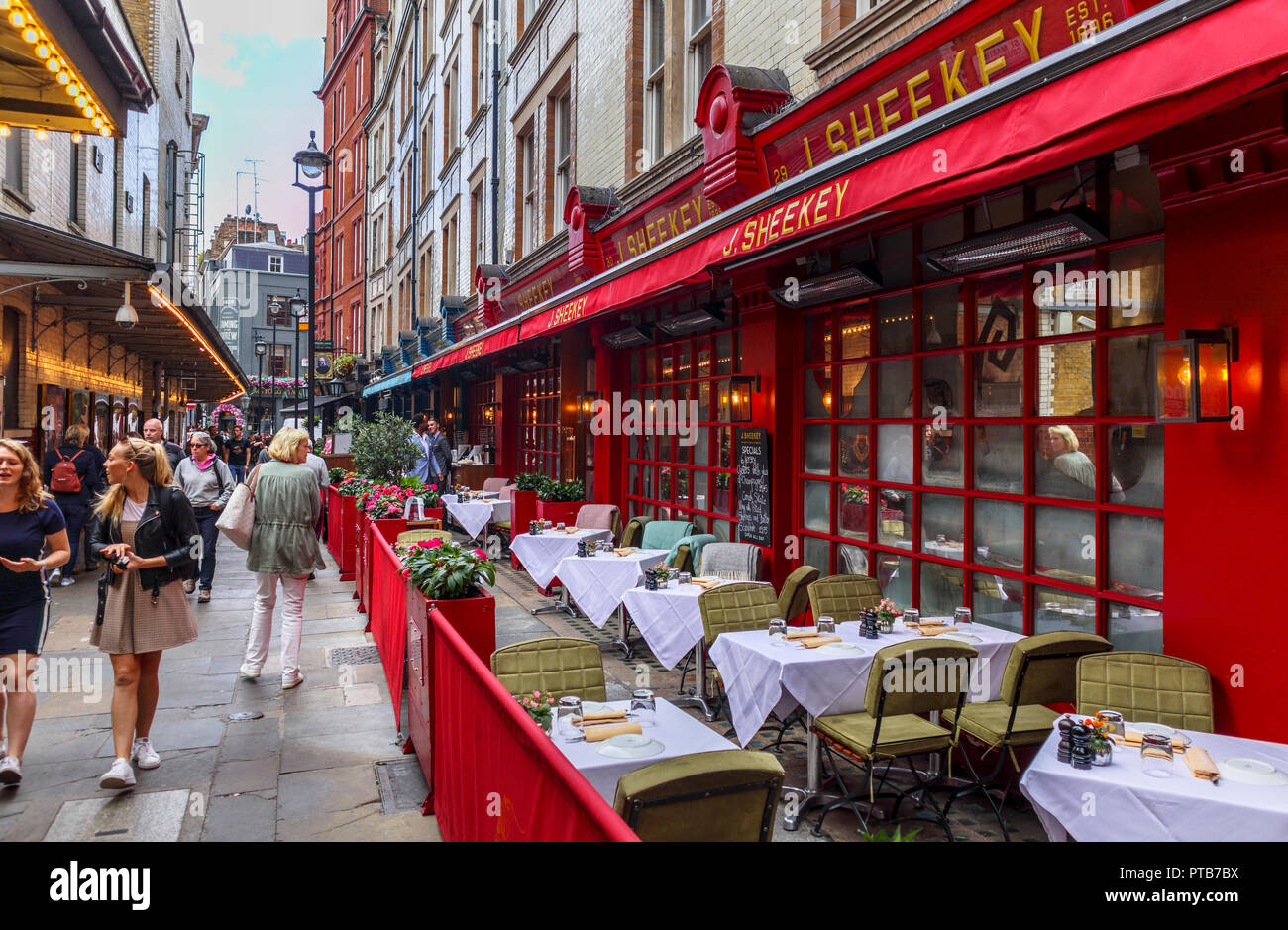 Exterior of the famous up market J. Sheekey seafood restaurant in St Martin's Court in the heart of Theatreland, Covent Garden, West End of London - Stock Image