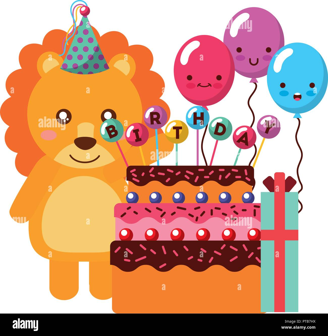 Birthday Lion Cake And Balloons Gift Vector Illustration