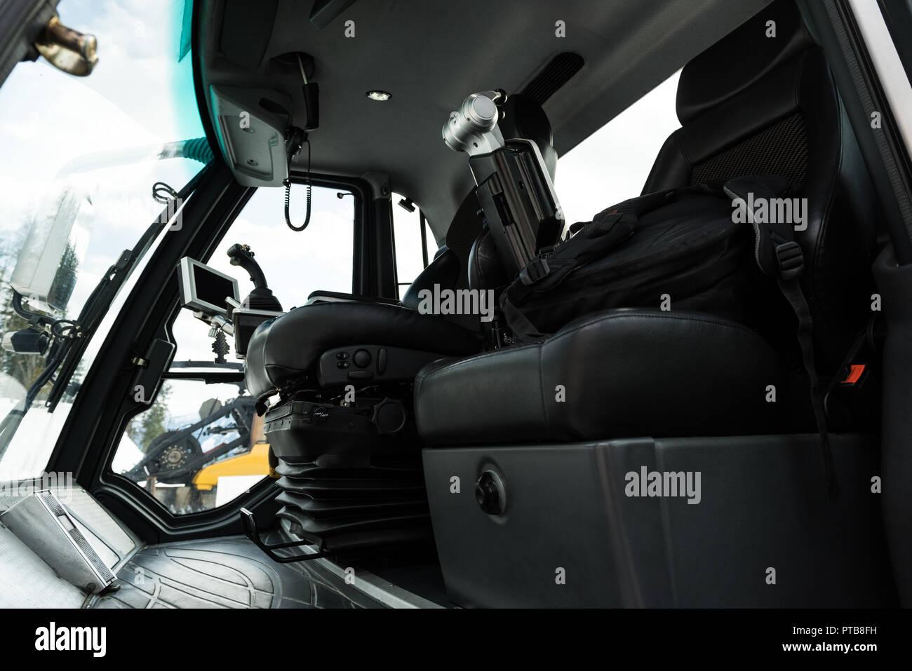 Interior of snowplow truck - Stock Image