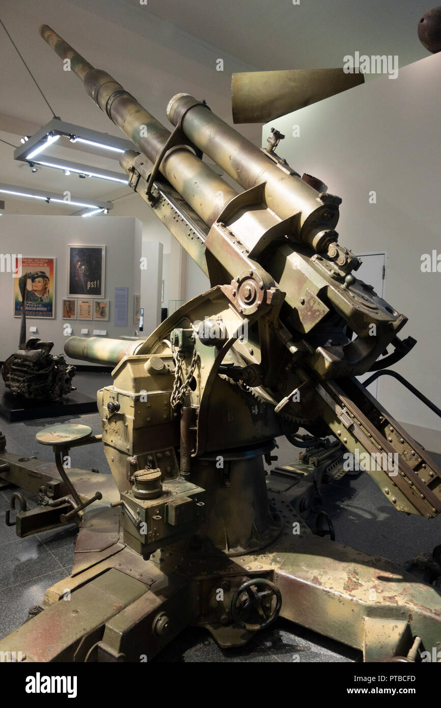 Anti Aircraft canon 8.8cm model 37 at Berlin History Museum, Germany - Stock Image