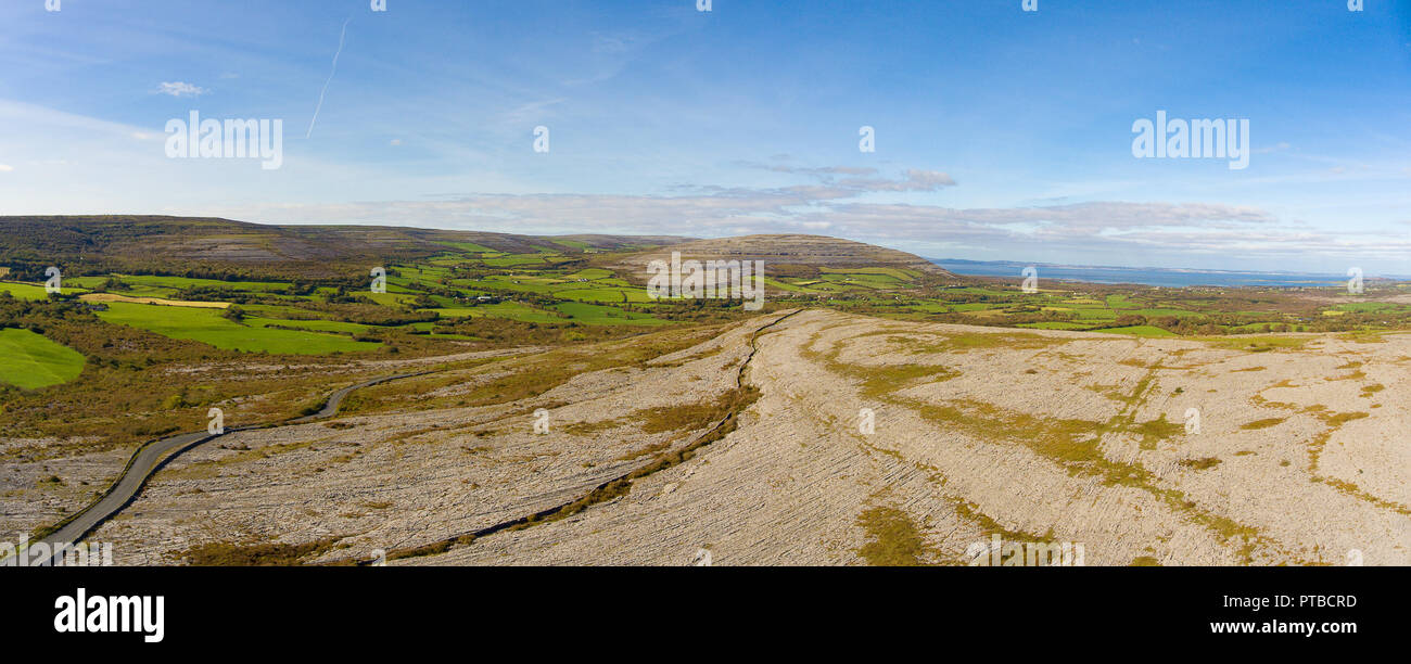 the burren national park in county clare, ireland. beautiful scenic rural irish countryside along the wild atlantic way. unesco global geopark for geo - Stock Image