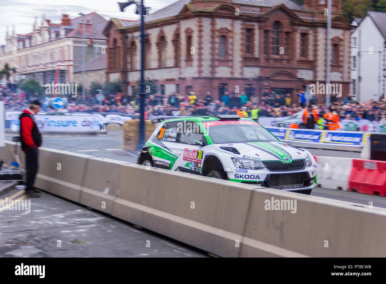 Finish of Wales Rally GB, Llandudno, Great Orme. October 7, 2018. Team no. 31 Tidemand, Andersson - Stock Image