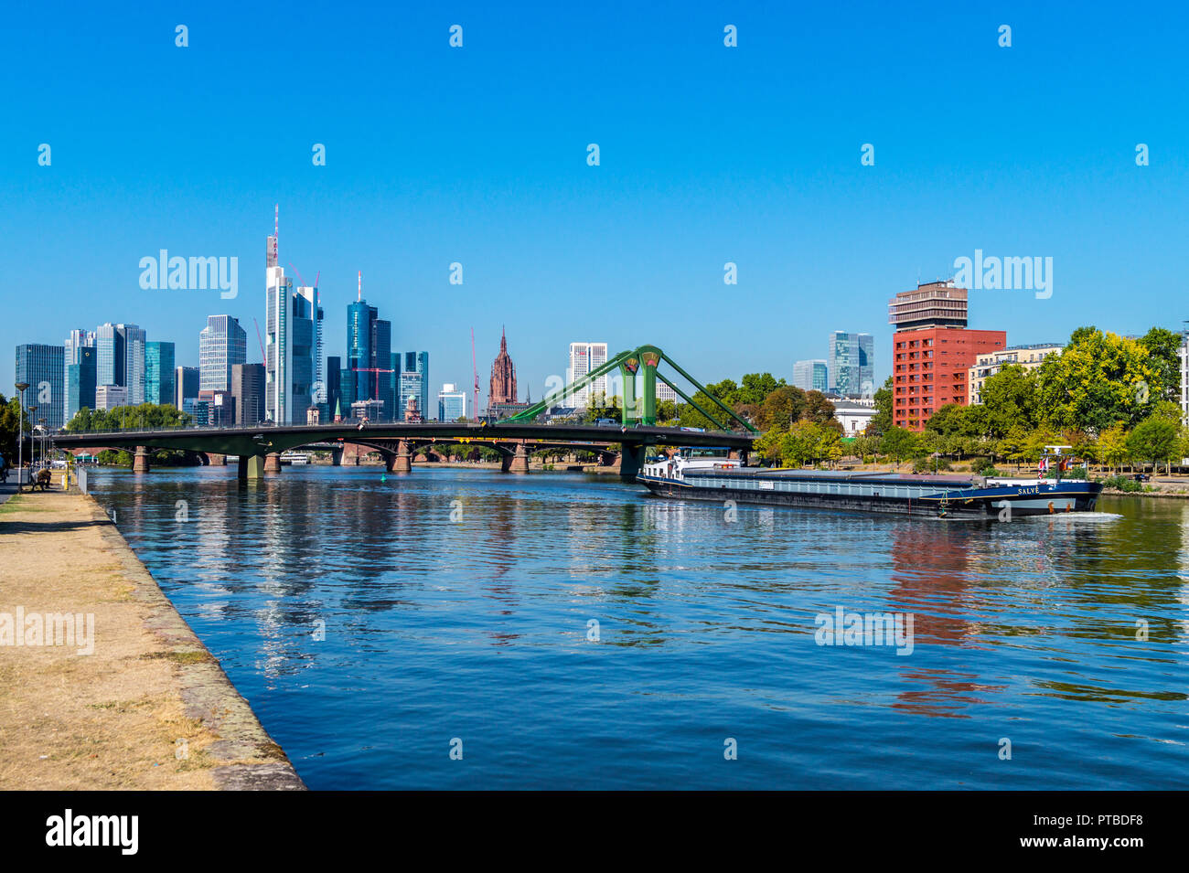 Inland waterway freighter 'Salve' ex Rotterdam and 'Mainhattan' financial district seen from the River Main, Frankfurt, Hessen, Germany - Stock Image