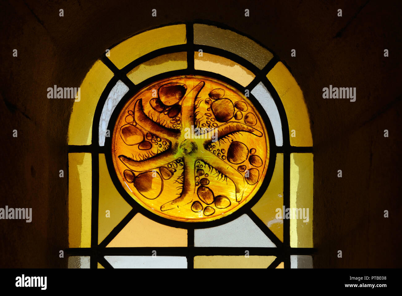 Abstract or Geometric Patterns of Stained Glass Window in the Church of Saint Trophime Arles Provence France - Stock Image