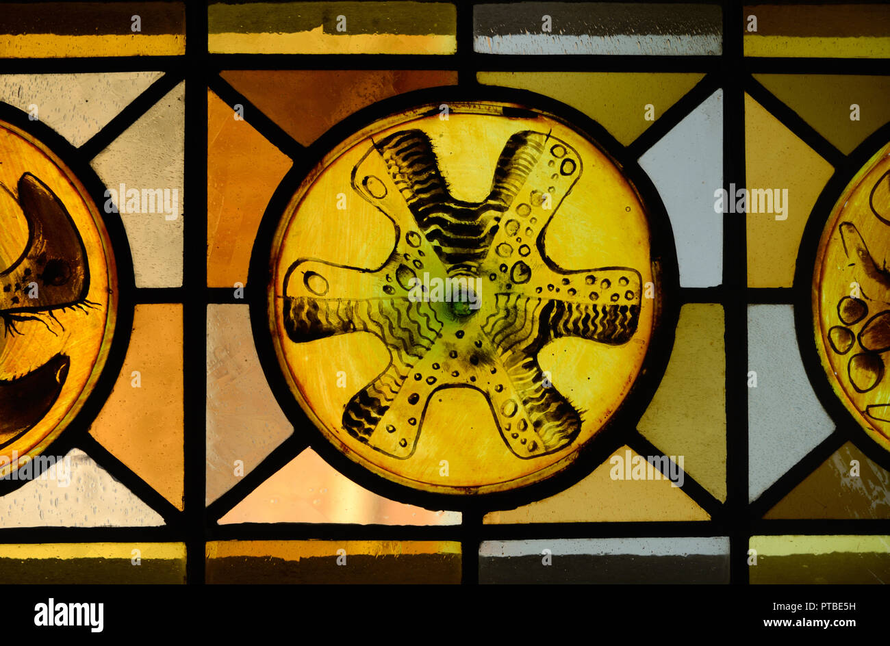Abstract or Geometric Patterns of Stained Glass Window in the Church of Saint Trophime Arles Provence France Stock Photo