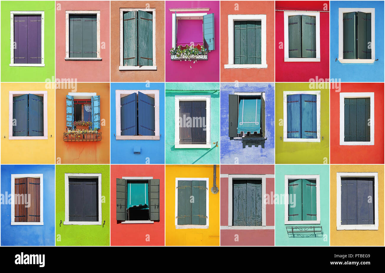 Collage of colorful windows with frames in Burano, Venice