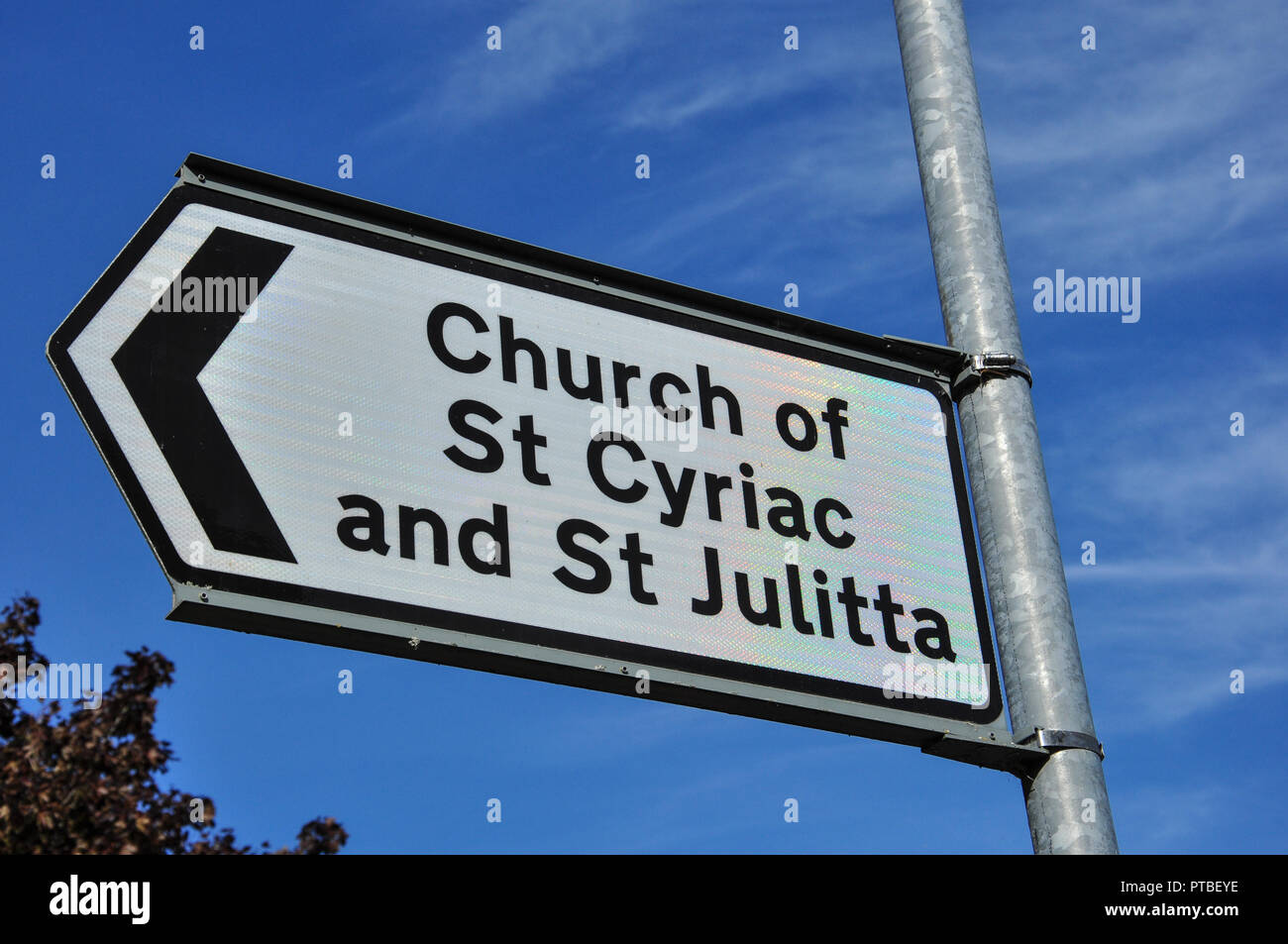 Signpost for the redundant church of St Cyriac and St Julitta, Swaffham Prior, Cambridgeshire, England, UK - Stock Image