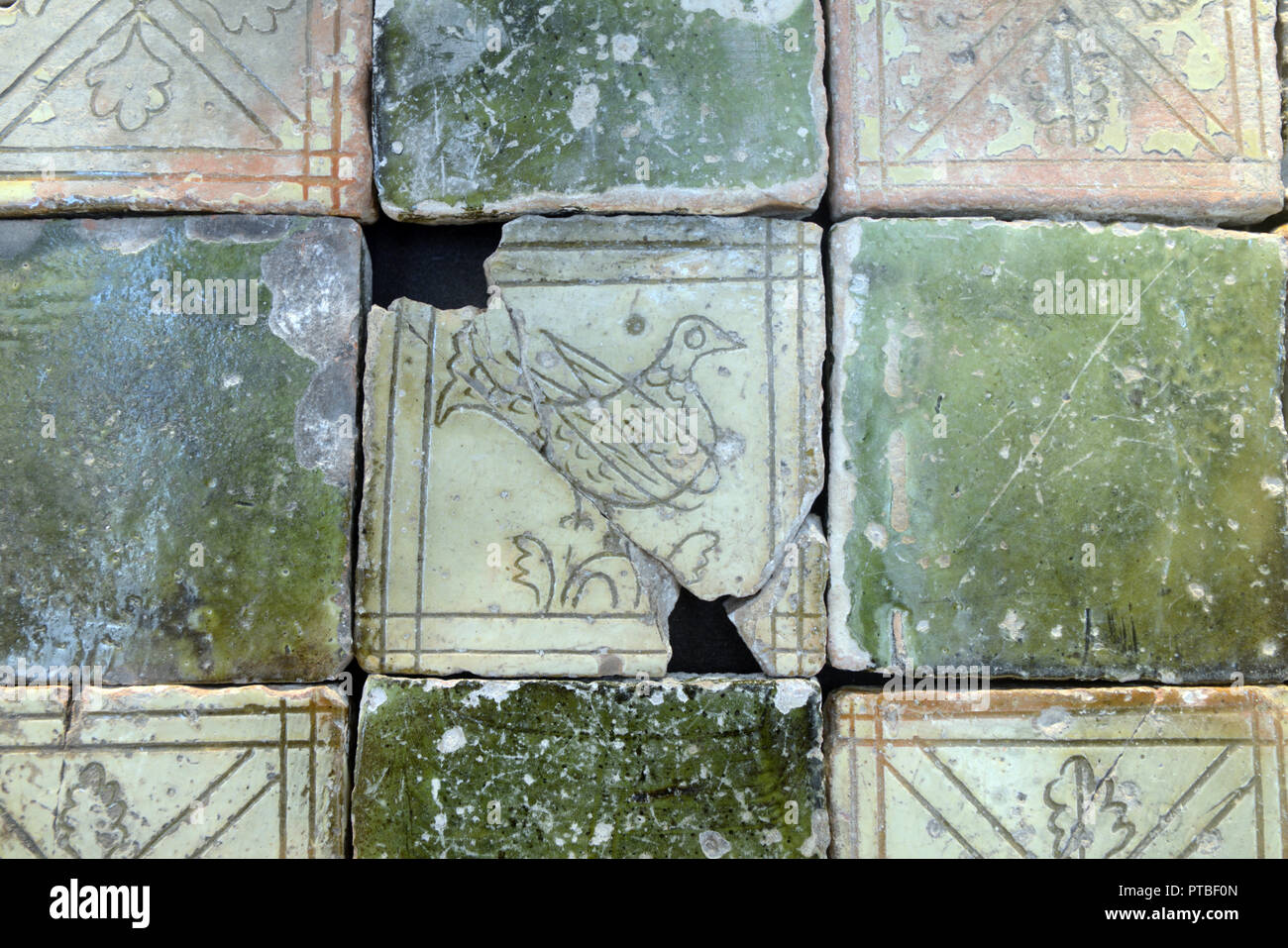 c17th Floor Tiles with Bird design from the Ruined Church of Châteauneuf-les-Moustiers in the Verdon Gorge Alpes-de-Haute-Provence France - Stock Image