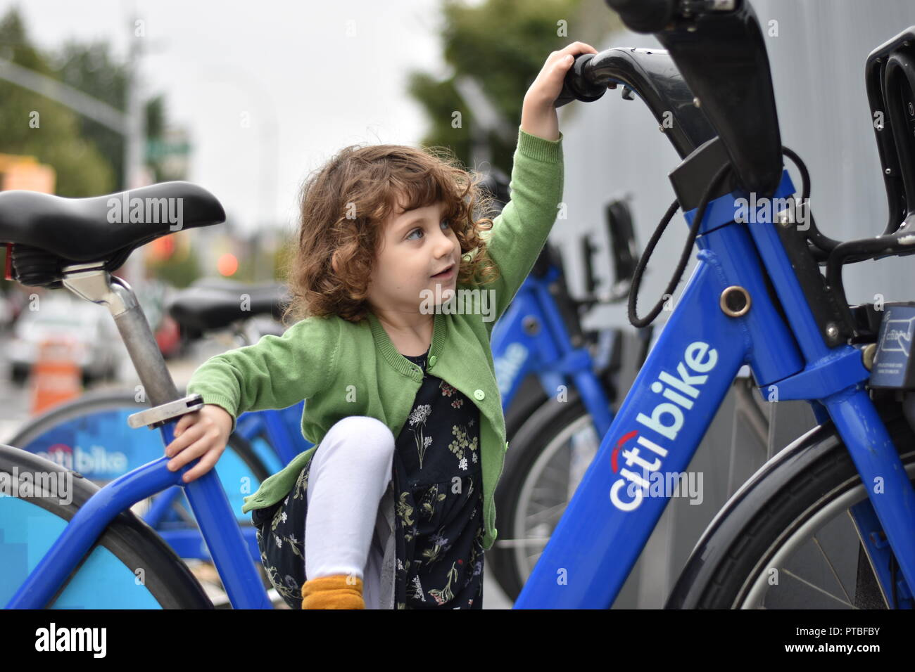 A fearless little girl with curly hair climbs onto a Citibike with a look of determination in her eye, despite not knowing how to ride a bicycle. - Stock Image