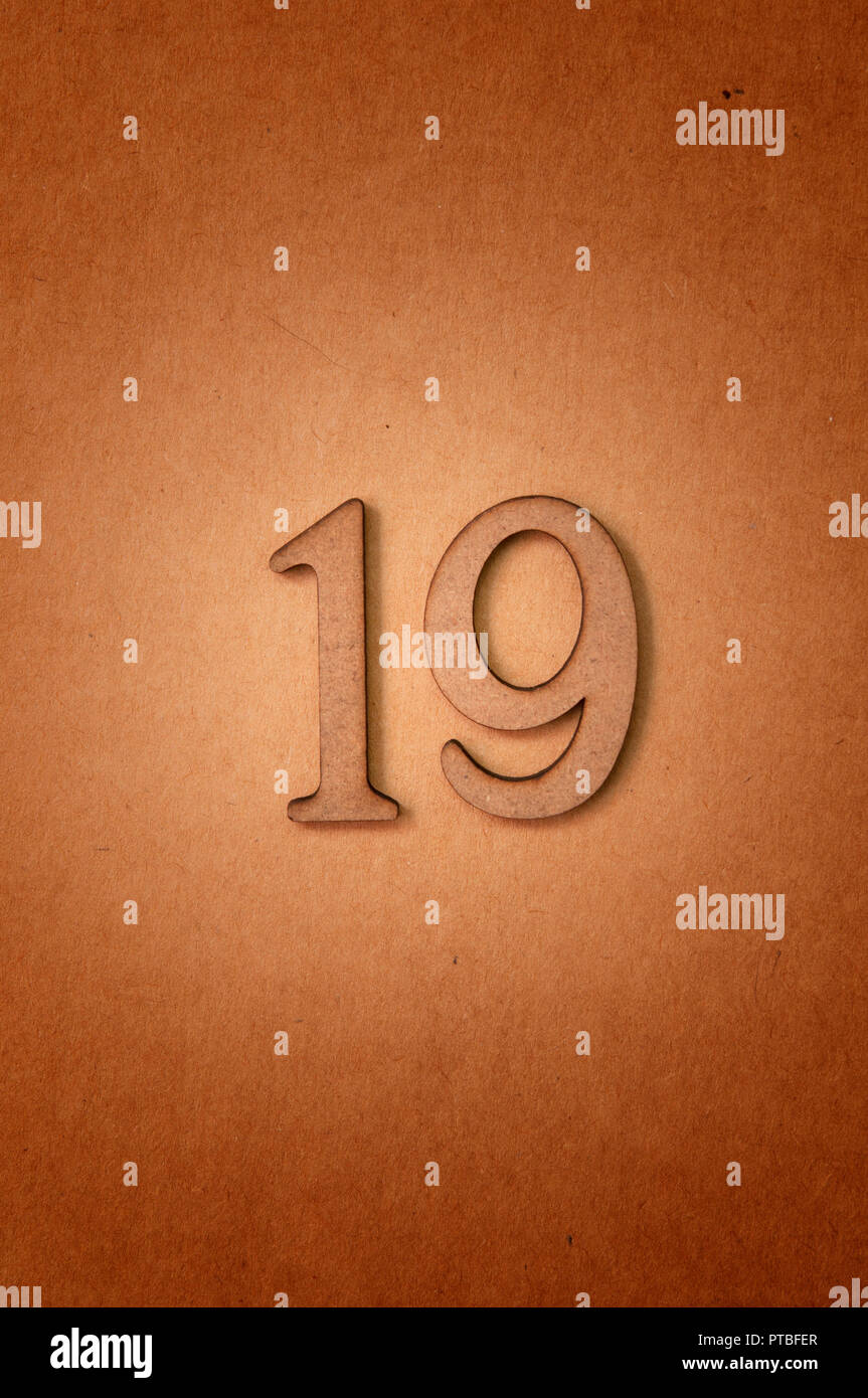prime number nineteen - Stock Image