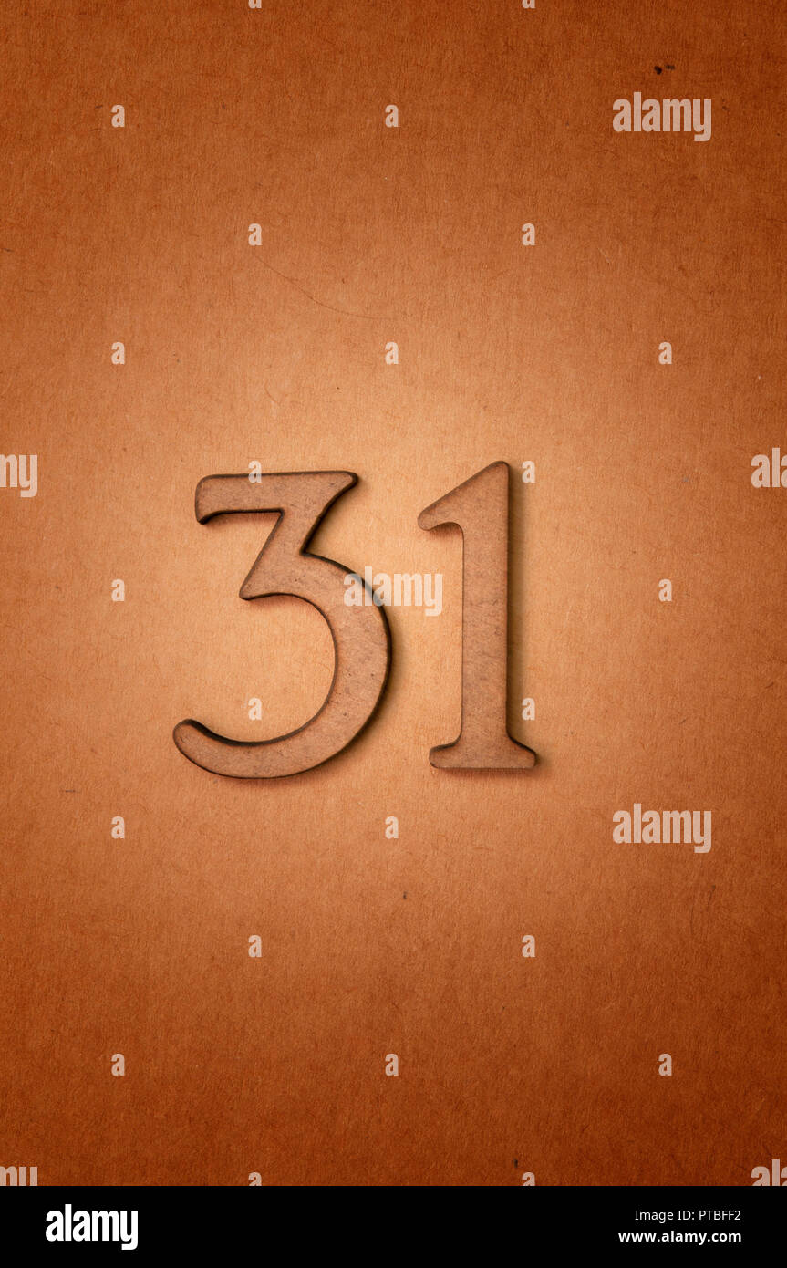 prime number thirty-one - Stock Image