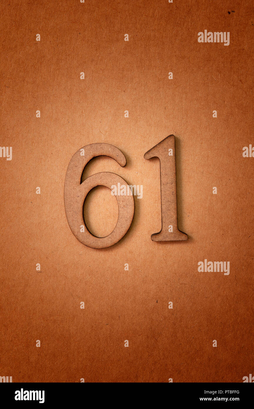 prime number sixty-one - Stock Image