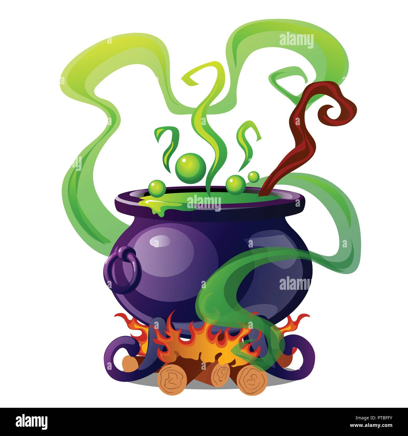 Steel cauldron with boiling green magic potion isolated on white background. Sketch for a poster or card for the holiday of all evil spirits Halloween. Vector cartoon close-up illustration. - Stock Image
