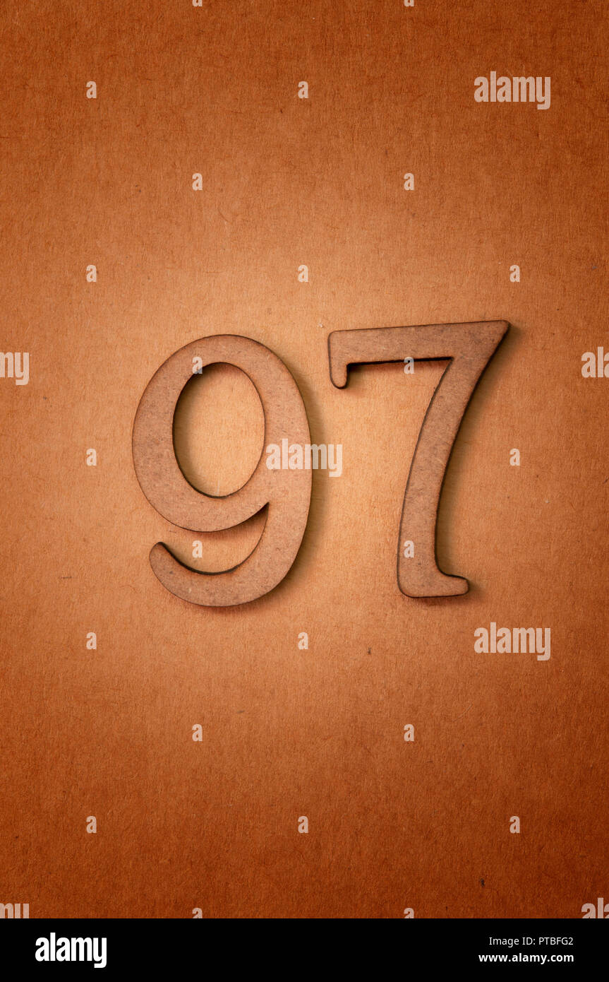 prime number ninety-seven - Stock Image