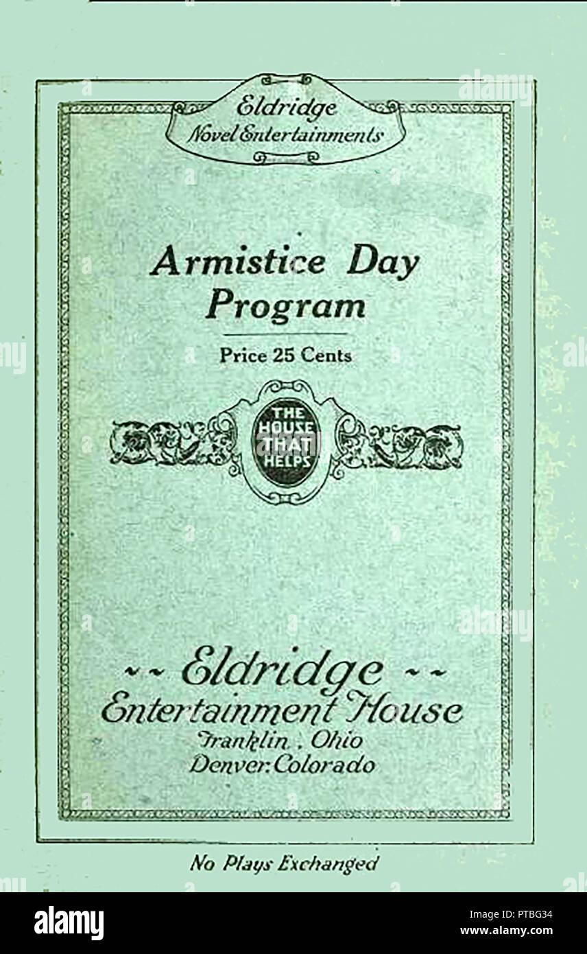An Armistice Day Programme for Eldridge Novel Entertainments (USA), Entertainments House,Franklin, Ohio,and Denver Colorado ('The House that Helps' - Stock Image