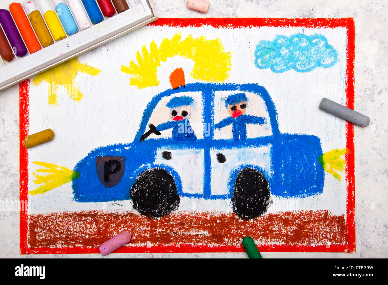 Colorful Hand Drawing Police Car And Two Policemen Stock Photo