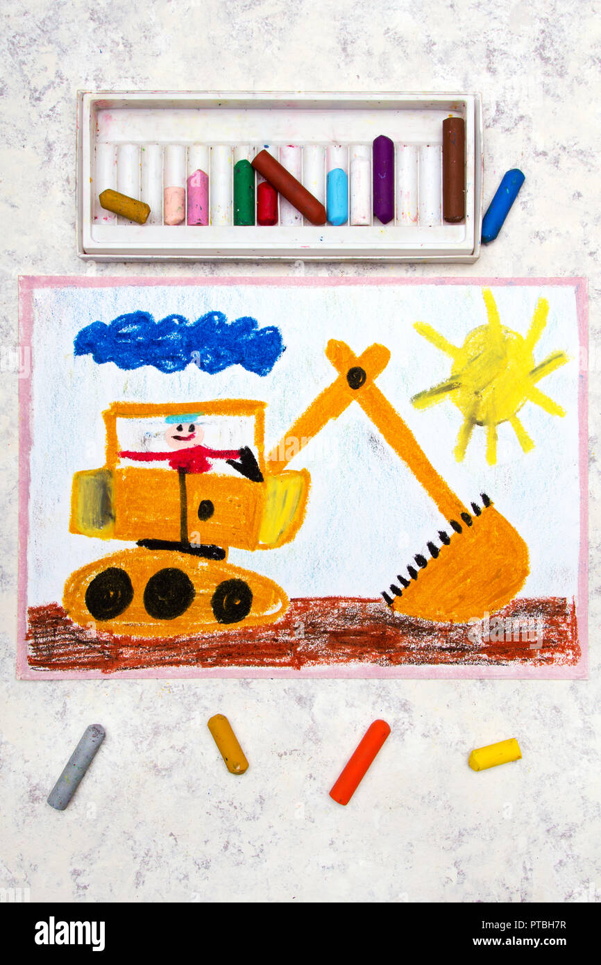 Colorful hand drawing: big yellow excavator - Stock Image