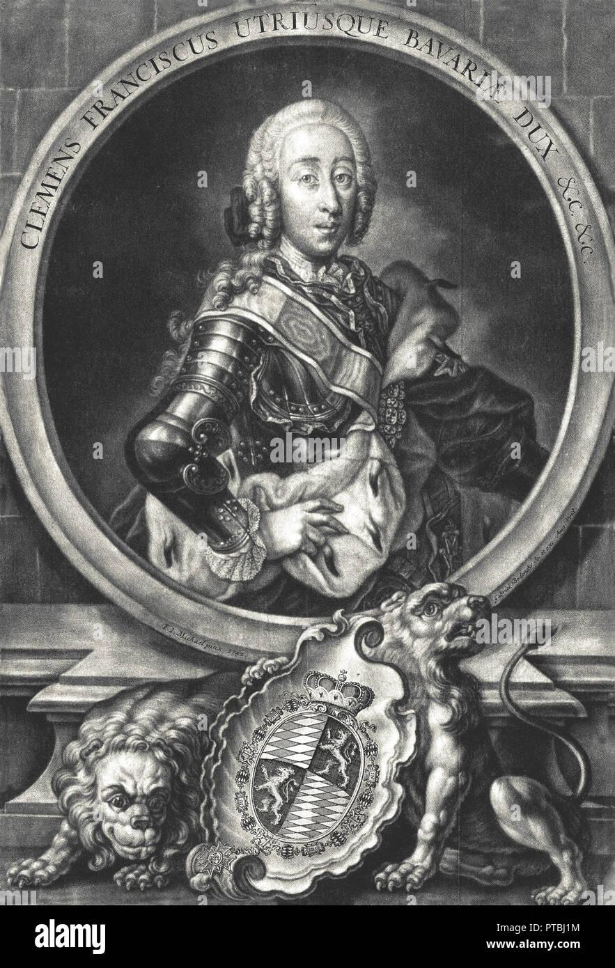 Portrait of Duke Clemens Franz de Paula of Bavaria, with armor (1722-1770). Grandson of king Maximilian II, elector of Bavaria. - Stock Image
