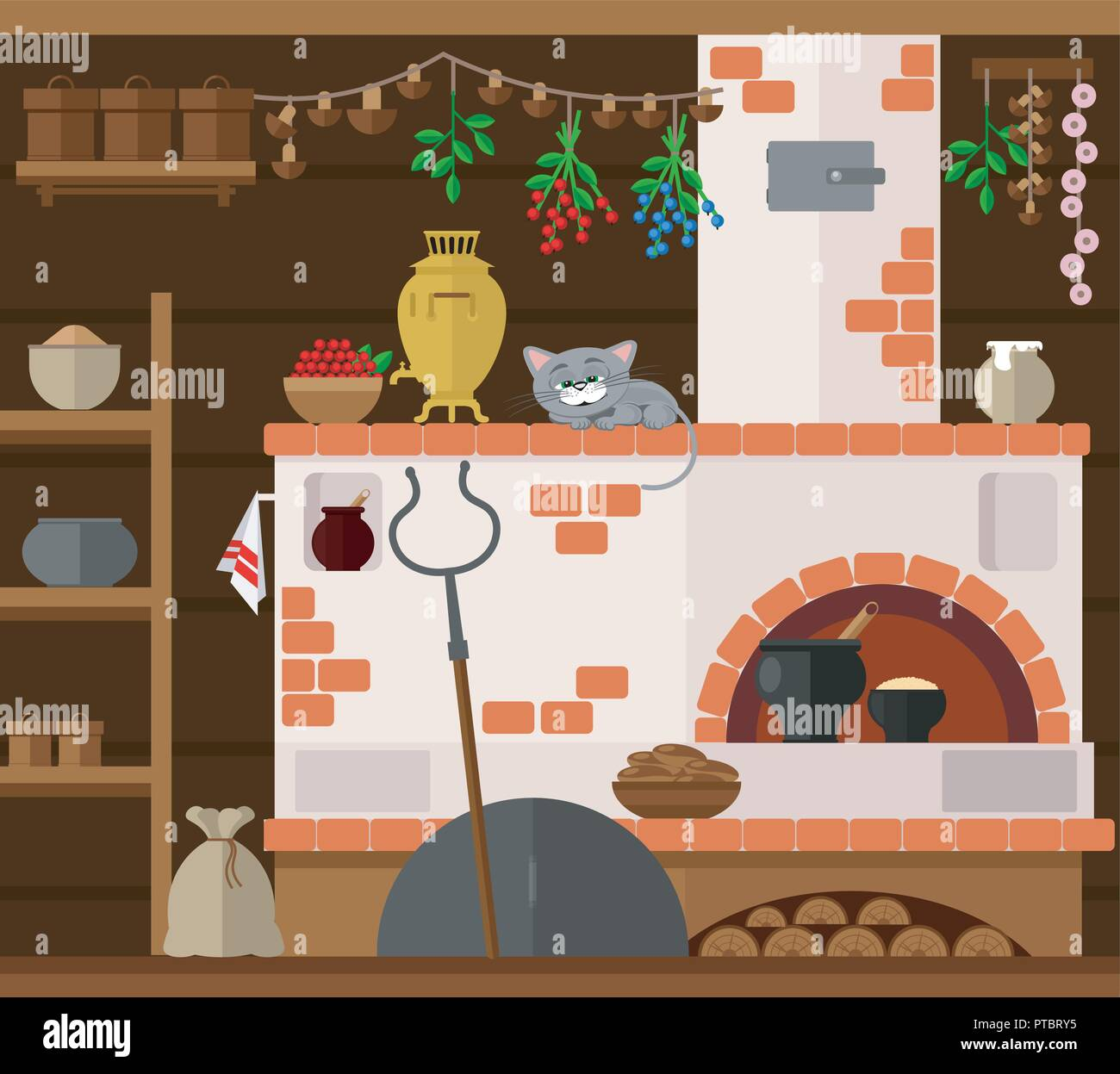 Interior of russian village house with Russian stove. Traditional farm house kitchen. Happy cat dozing on a chair. - Stock Vector