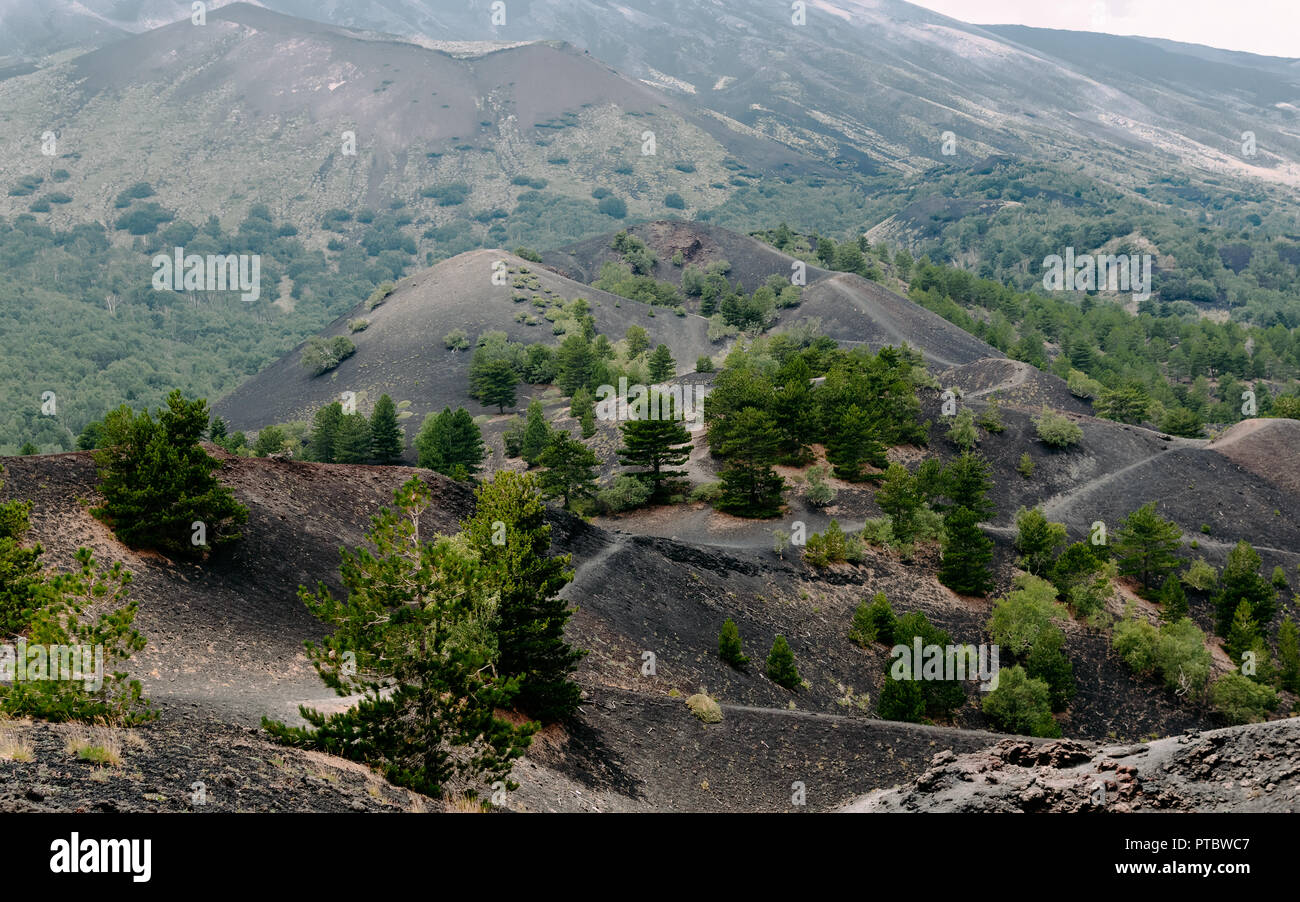 Walking on volcanic land. Etna, Sicily 2018 - Stock Image