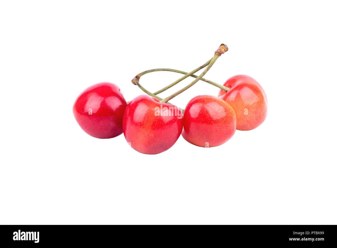 Four Yellow Fresh Ripe Red Cherries On A White Background