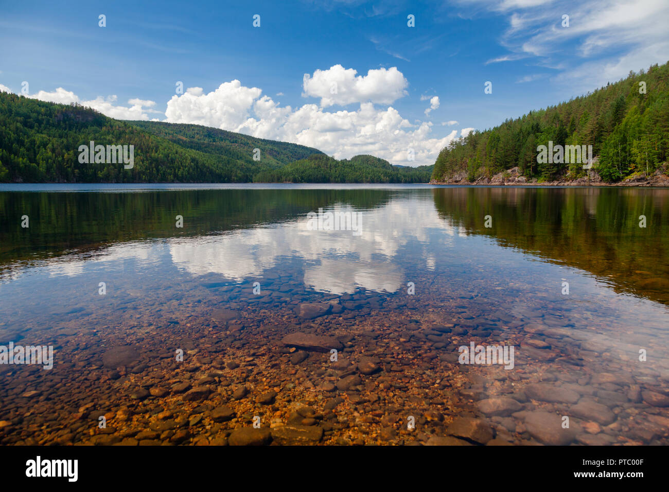 Crystal clear water of  Lake Langen in Telemark County, Southern Norway - Stock Image