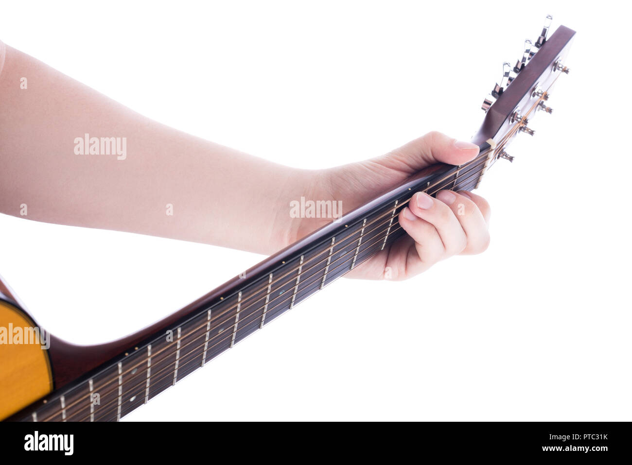 The Position Of The Left Male Hand On The Guitar Neck Chord C