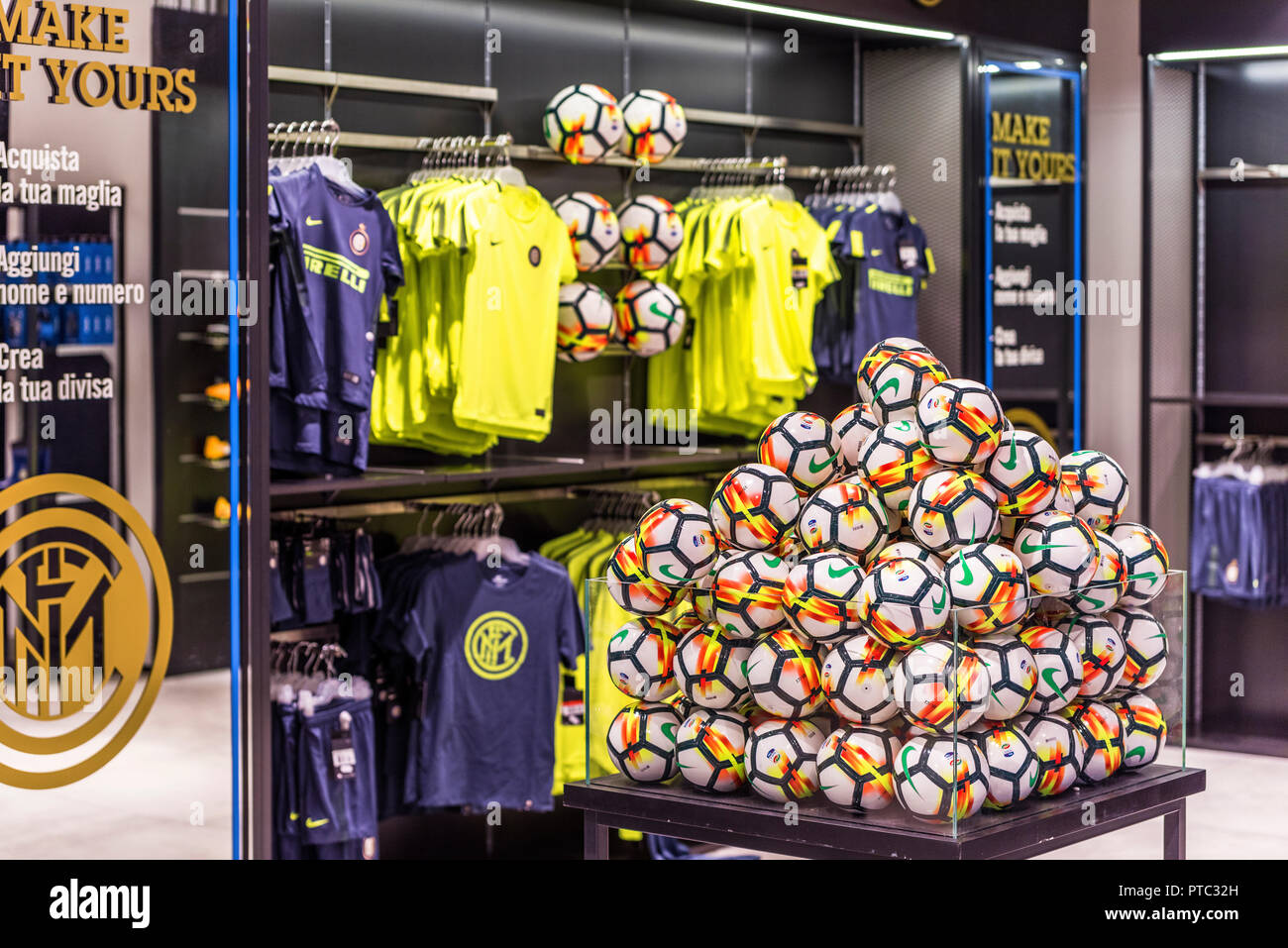 Balls on sale in fan shop At San Siro stadium - the official arena ...