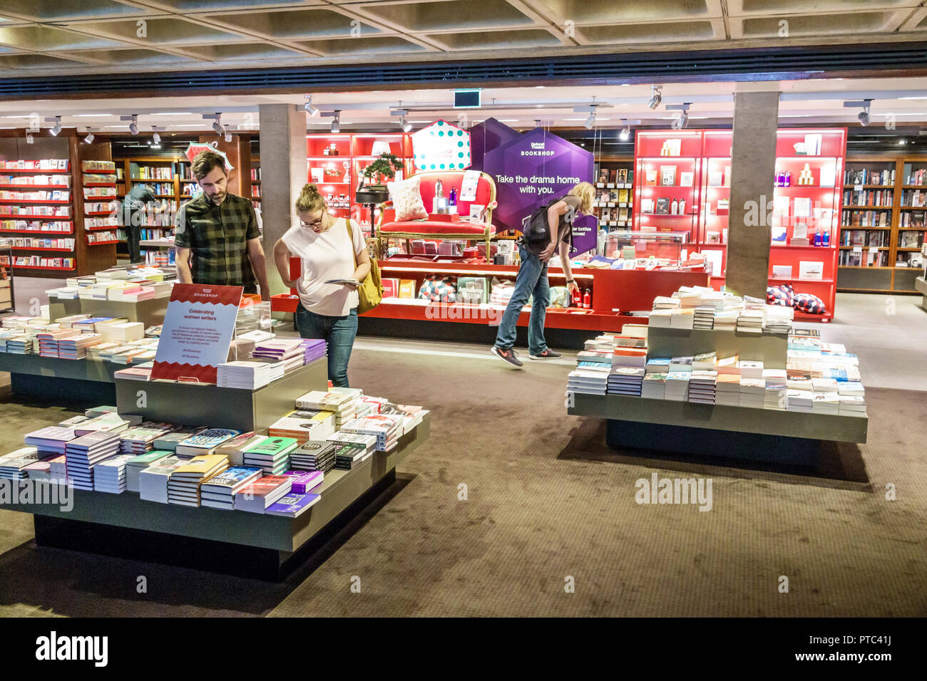 London England United Kingdom Great Britain Lambeth South Bank National Theatre theater Bookshop store gift shop shopping man woman couple looking boo - Stock Image