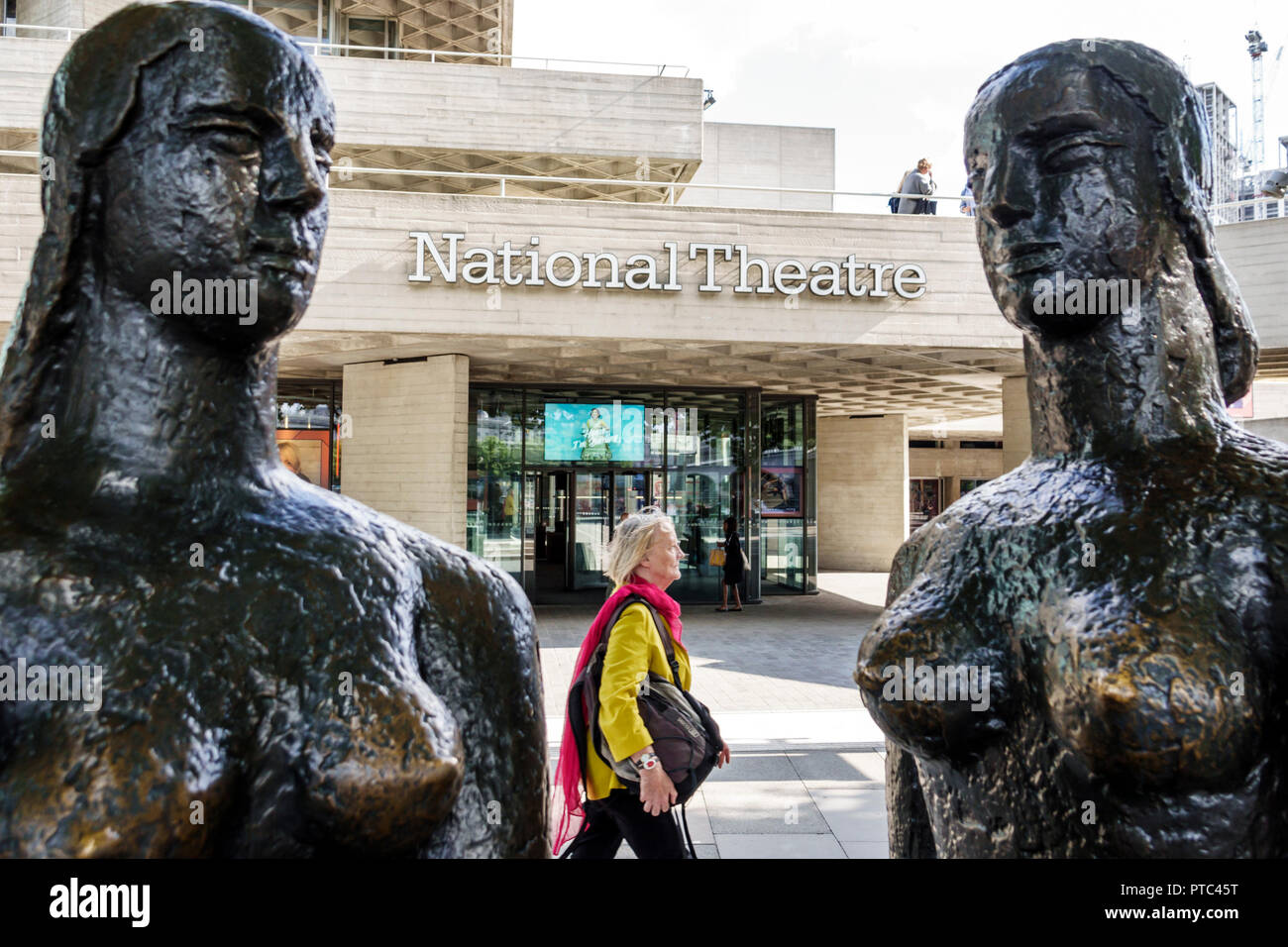London England United Kingdom Great Britain Lambeth South Bank National Theatre theater exterior bronze sculpture London Price by Frank Dobson woman passerby pedestrian - Stock Image