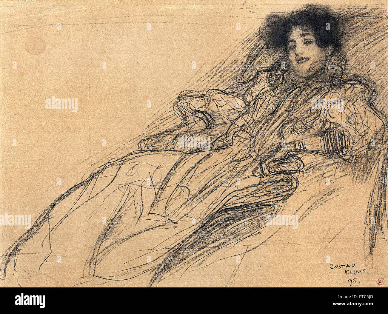 Gustav Klimt, Young Woman in an Armchair 1896 Charcoal and crayon on dark-brown paper, Museum Kunstpalast, Dusseldorf, Germany. - Stock Image