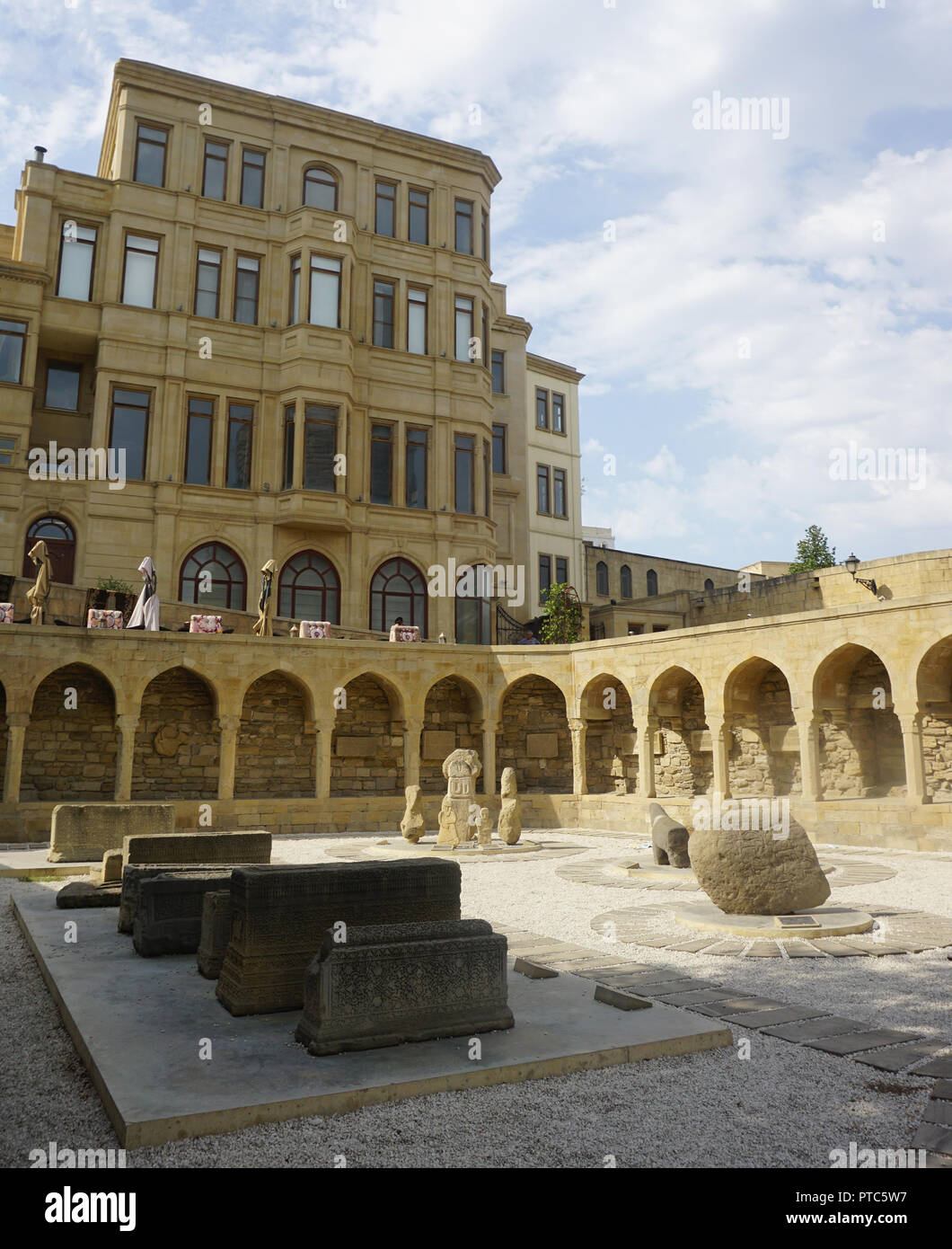 Baku Open Air Museum with Grave Stones and Columns - Stock Image