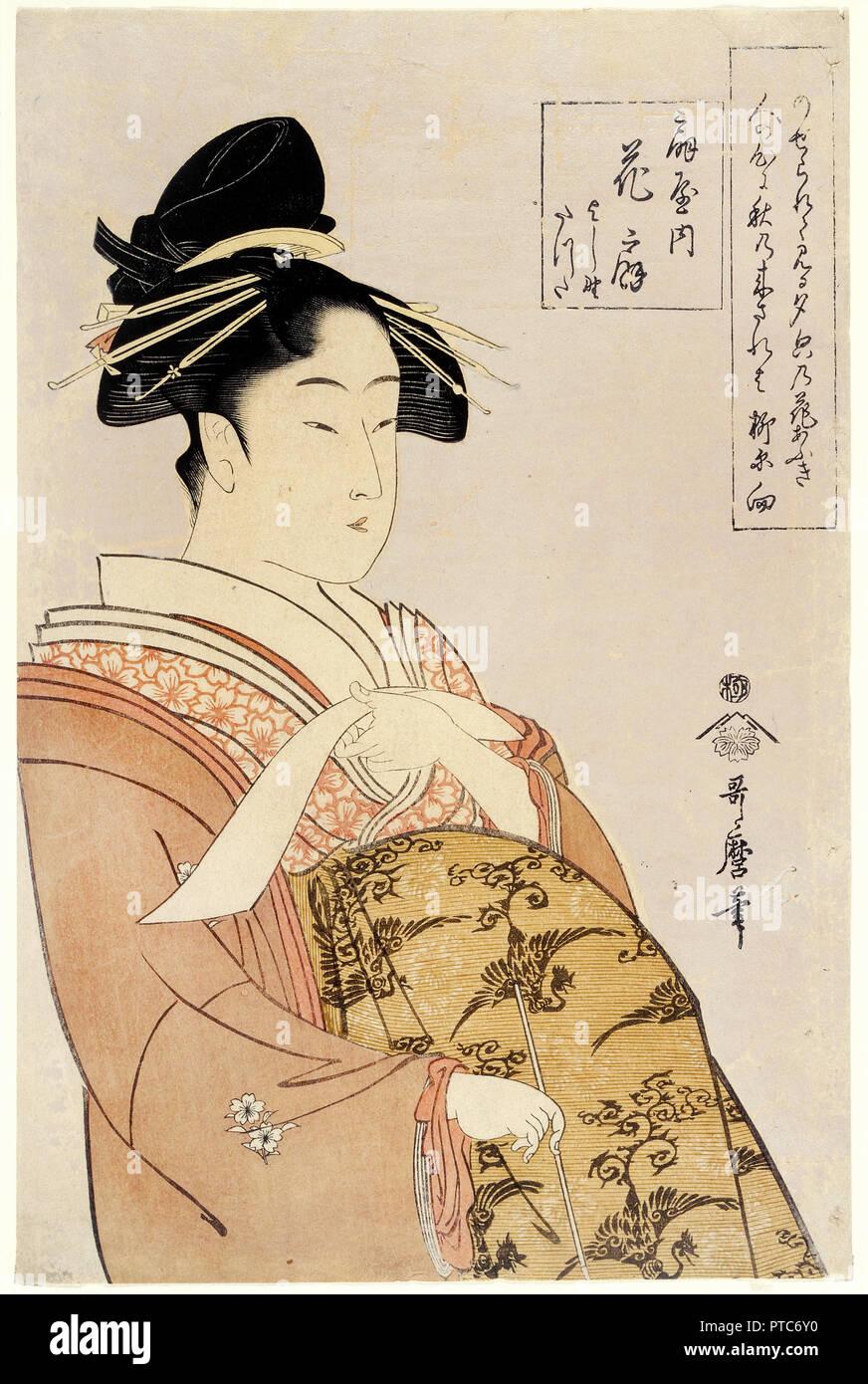 Kitagawa Utamaro, Courtesan Hanao-gi of the O-giya House, Circa 1793-1794, Color woodblock print, Minneapolis Institute of Arts, USA. - Stock Image