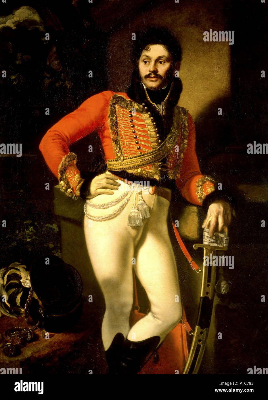 Orest Kiprensky, Portrait of Life Guard Colonel Yevgraf Davydov, 1809 Oil on canvas, Russian Museum, Saint Petersburg, Russia. - Stock Image