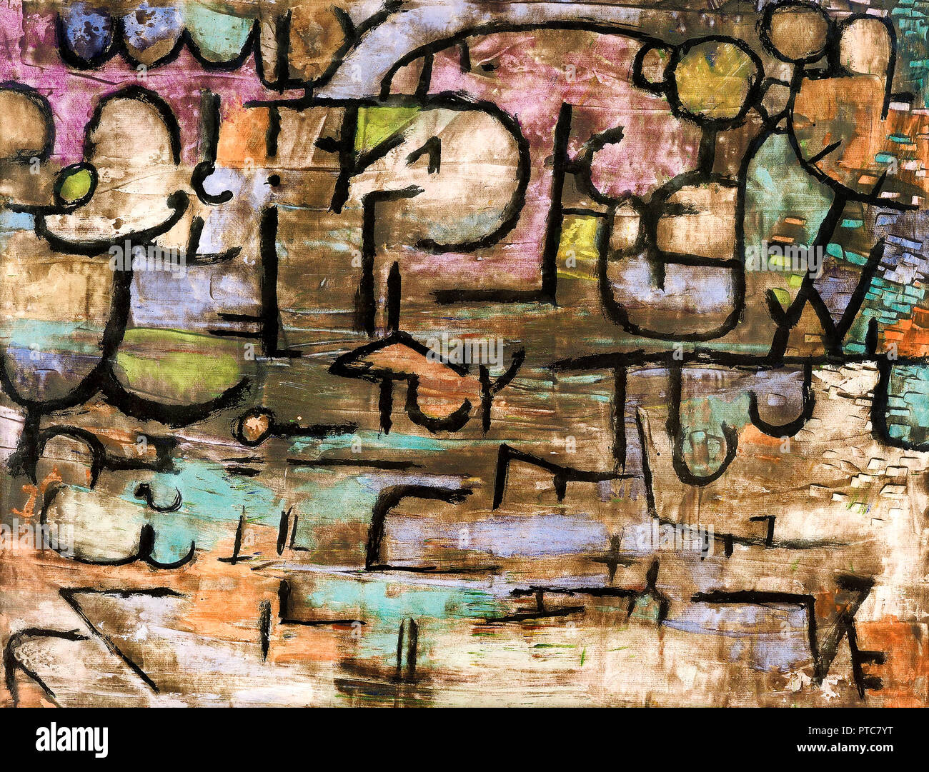 Paul Klee,  After The Flood 1936 Oil on canvas, Beyeler Foundation, Riehen, Switzerland. - Stock Image