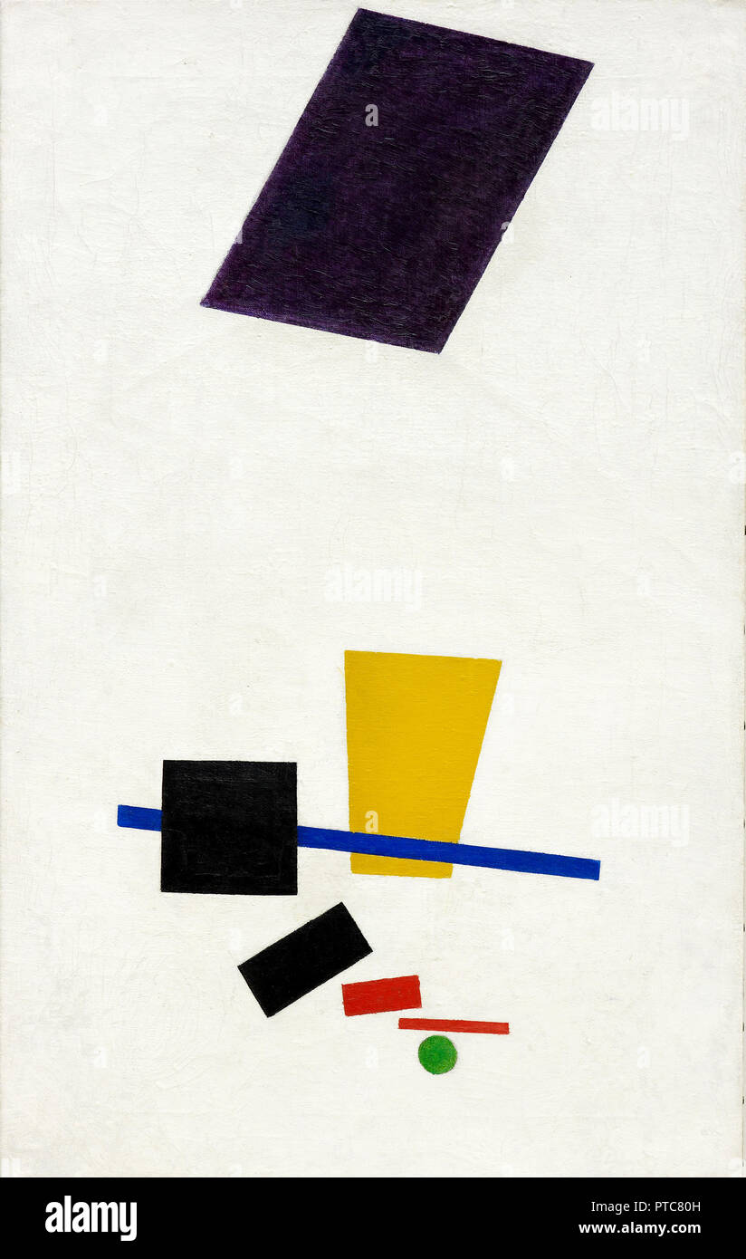 Kazimir Malevich, Painterly Realism of a Football Player – Color Masses in the 4th Dimension 1915 Oil on canvas, Art Institute of Chicago, USA. - Stock Image