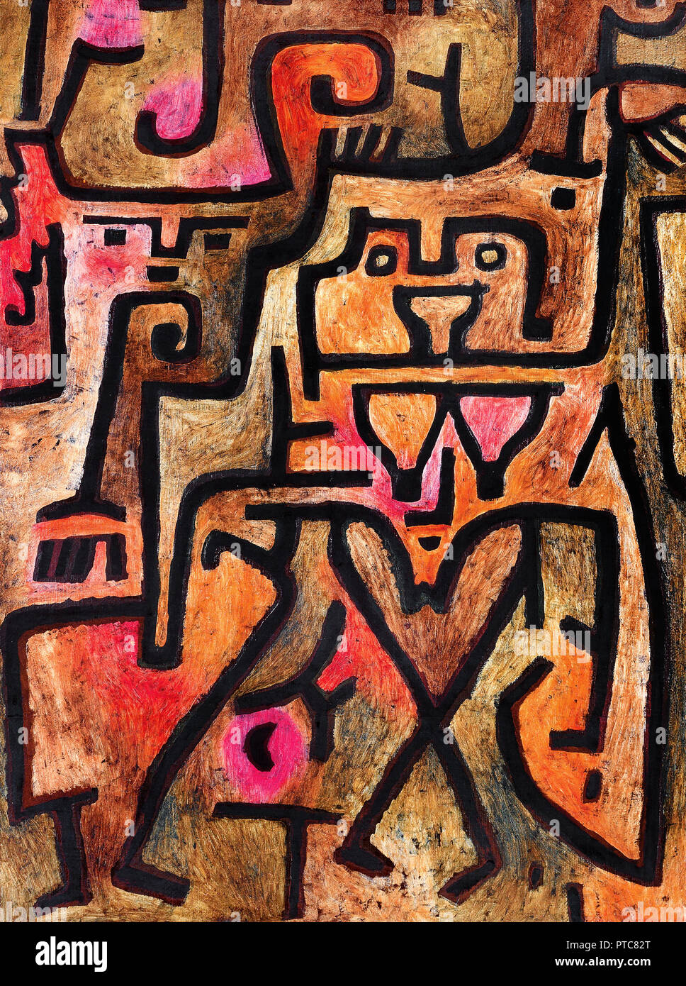 Paul Klee, Forest Witches 1938 Oil on canvas, Beyeler Foundation, Riehen, Switzerland. - Stock Image