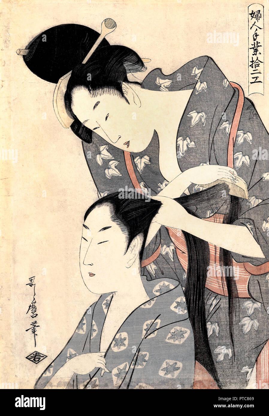 Kitagawa Utamaro, Hairdresser / Kamiyui Circa 1799, Woodblock prints on paper, Art Gallery of South Australia. - Stock Image