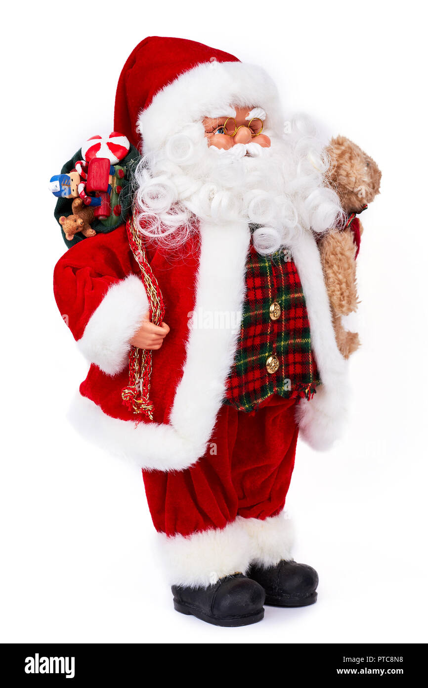 Cute old Santa Claus doll with gifts. Adorable grandfather frost toy ...