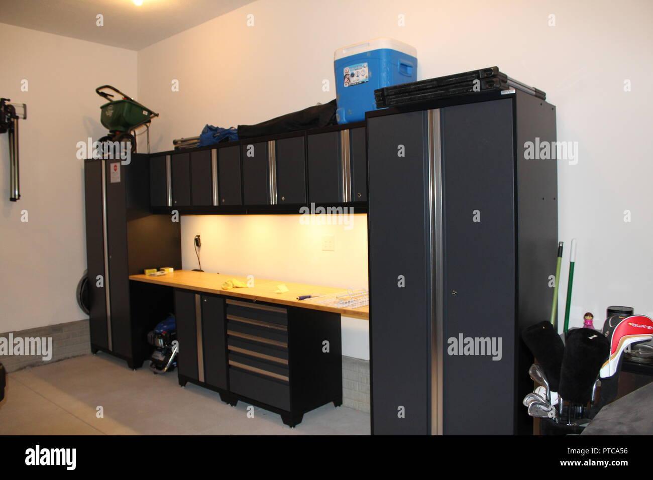Swell Modern Black Workbench Installed In A New Garage Stock Photo Machost Co Dining Chair Design Ideas Machostcouk