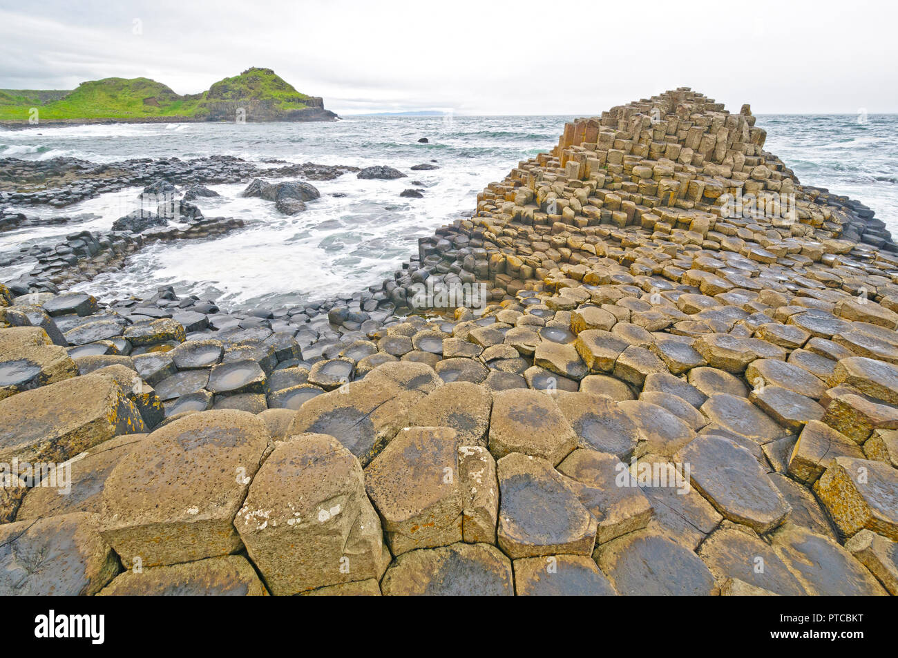 Dramatic View of the Giant's Causeway on the Irish Coast - Stock Image